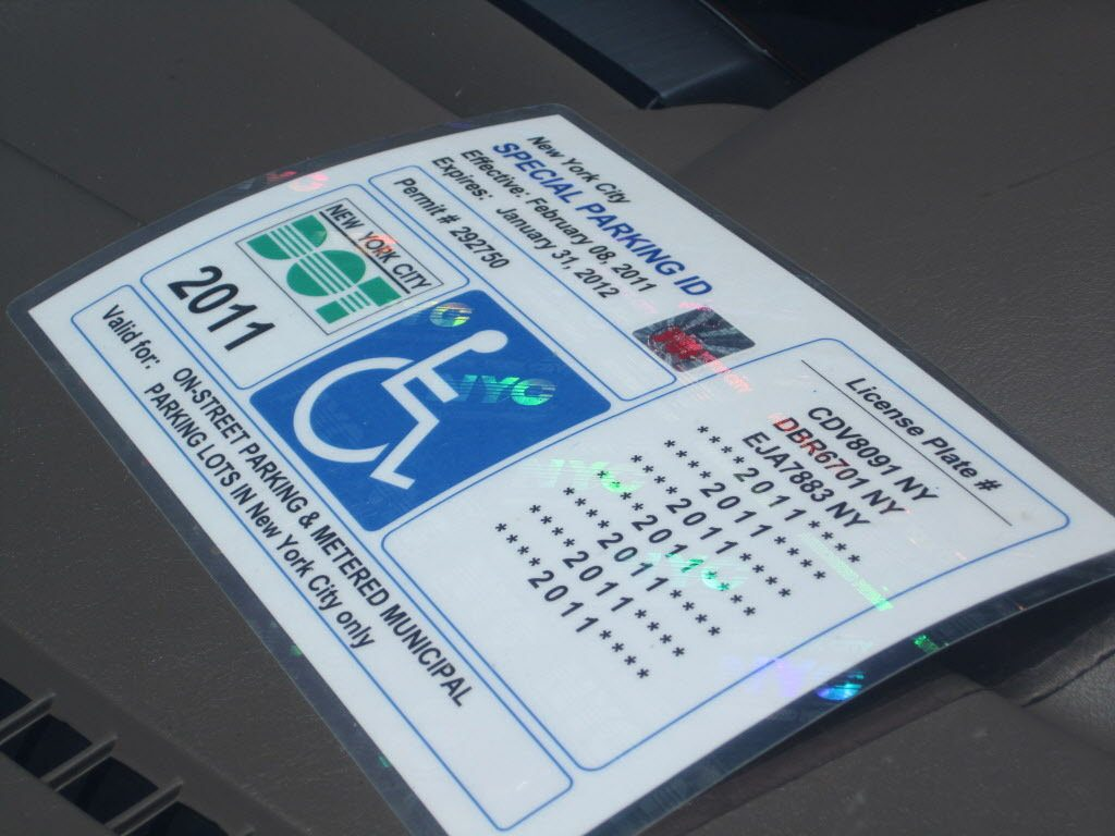 NYC Parking Permit for persons with disabilities