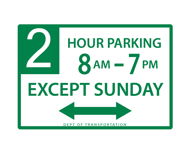Green parking signs