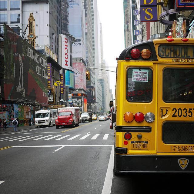 Be careful when passing a school bus in NYC!